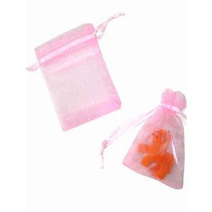 Organza zakje roze (9 x 7 cm)