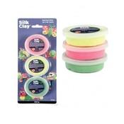 Silk clay set á 3 stuks groen, neon geel en neon pink