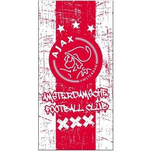Badlaken Ajax rood/wit grunge (75 x 150 cm)