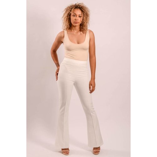 High waist white flared pants