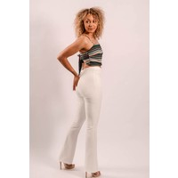 High waist white flared pants
