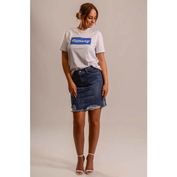 Jeans skirt ripped dark blue