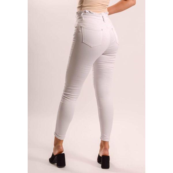 High waist jeans white ruffled