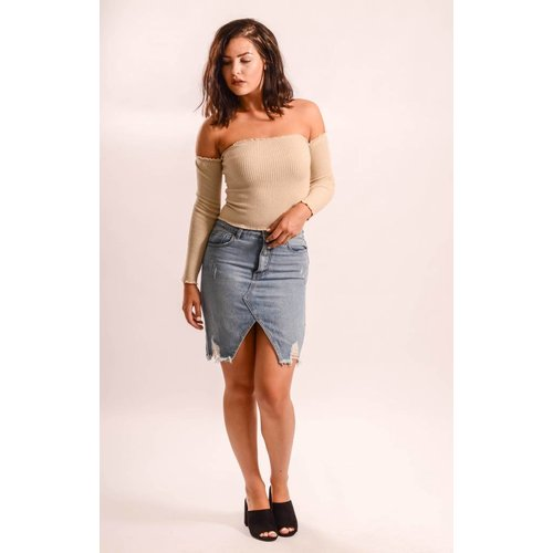 Jeans skirt split