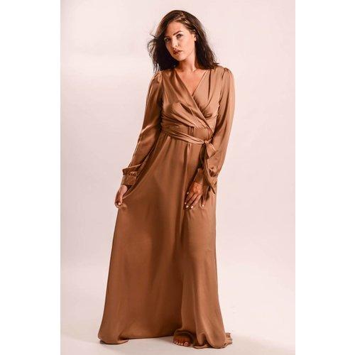 Long Dress Satin taupe