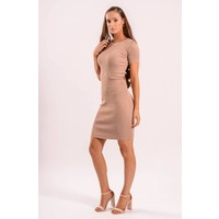 Ribbed nude dress