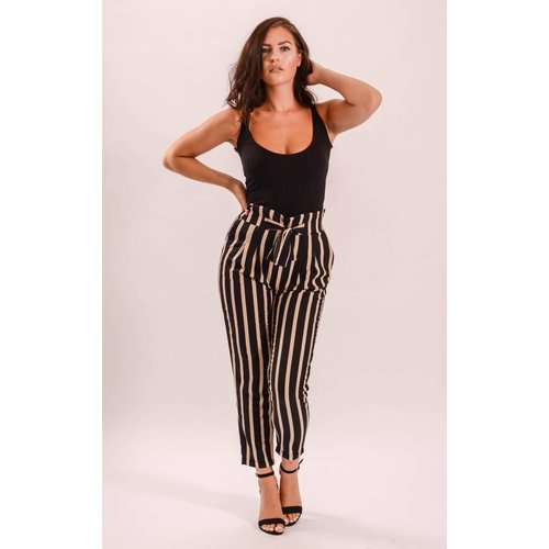 Pantalon striped black/beige