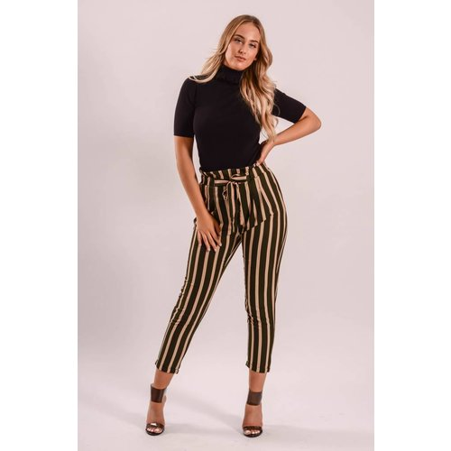 Pantalon striped green/beige