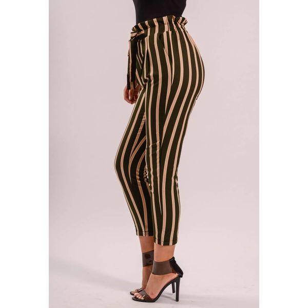 Pantalon striped green/beige