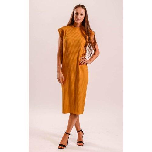 Dress ribbed yellow