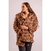 Faux fur coat midi tiger print