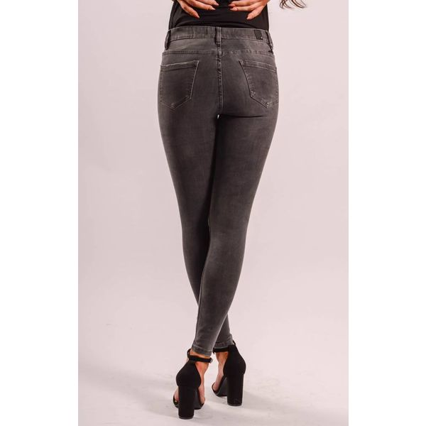 High waist dark grey ripped