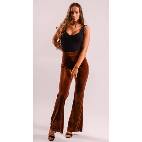 Flared velvet pants Camel/Red