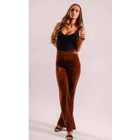 Flared velvet pants Camel/Red