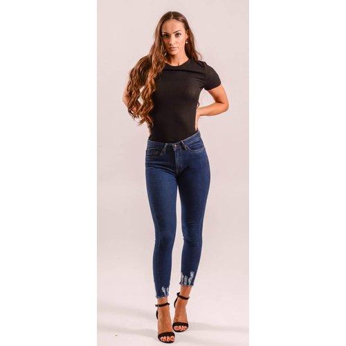 High waist dark jeans basic