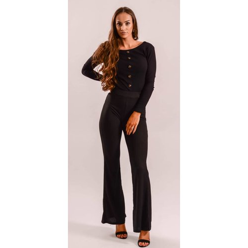 Flared ribbed pants black