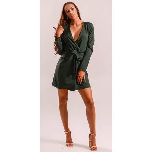 Blazer dress green- tie up