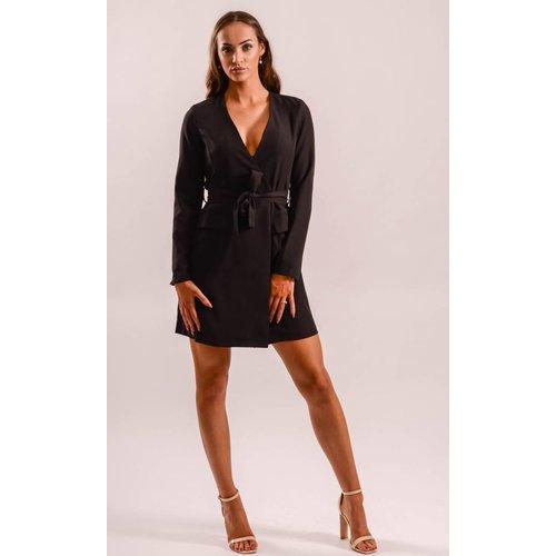 Blazer dress black- tie up