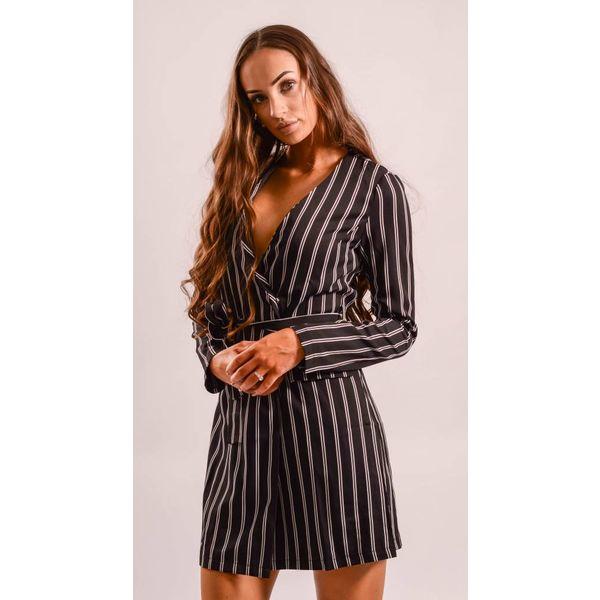 Blazer dress black striped