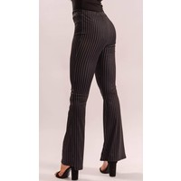 Flared pants black striped