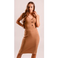 Two Piece set button up camel
