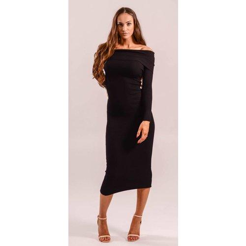 Long ribbed dress offshoulder black