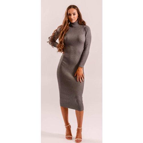 Long ribbed dress grey