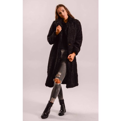 Teddy coat long black
