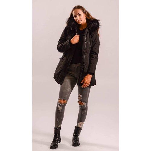 Parka black faux fur