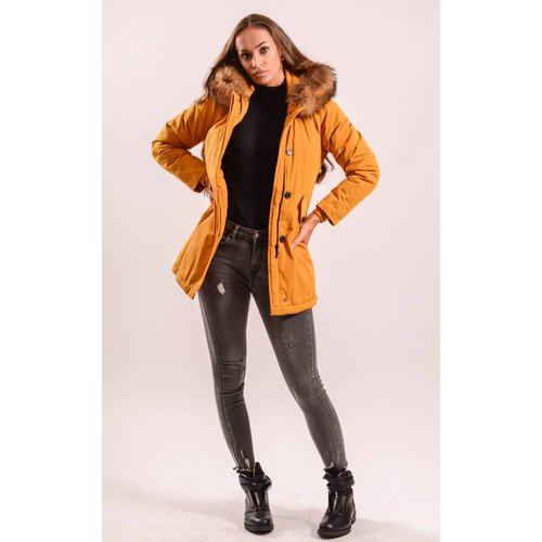 Yellow parka - beige real fur