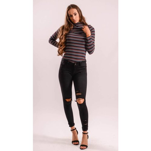 High waist jeans black ripped