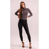 High waist jeans basic black