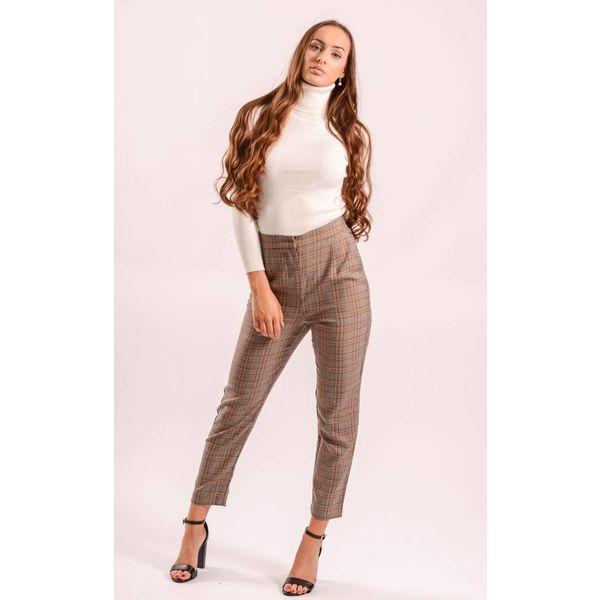 Checkered pantalon brown