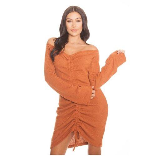 Ruched Ribbed Dress Orange