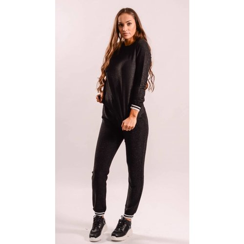 Tracksuit sweater glitter black