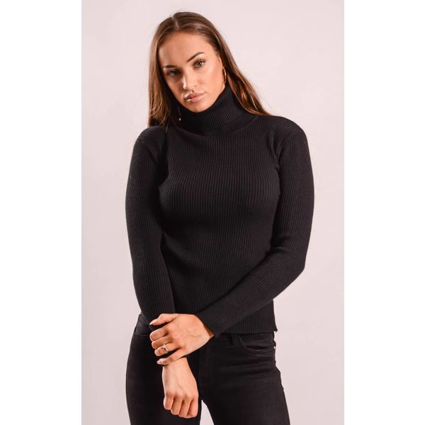 High turtle neck ribbed black
