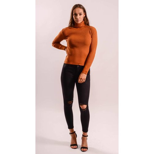 High turtle neck ribbed orange