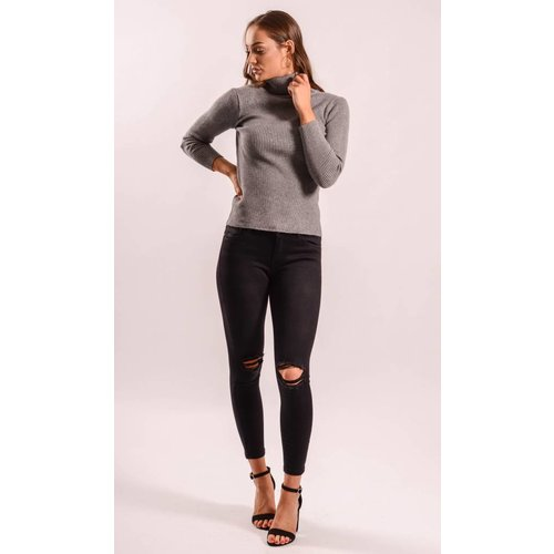 High turtle neck ribbed grey