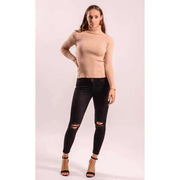 High turtle neck ribbed nude