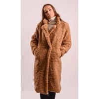 Teddy coat long camel