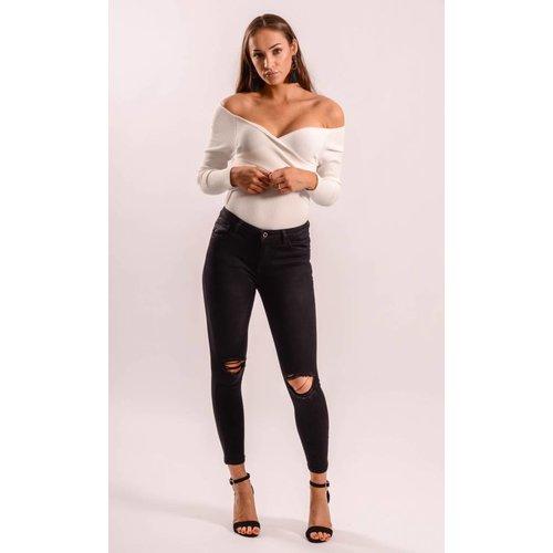 Highwaist jeans black ripped