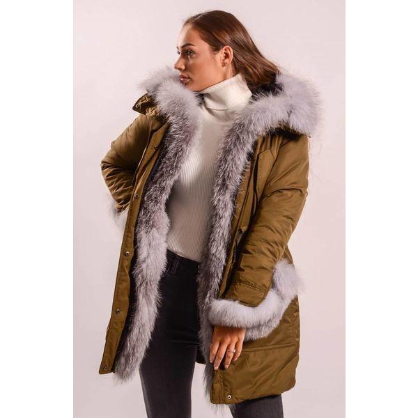 Parka kaki real grey fur