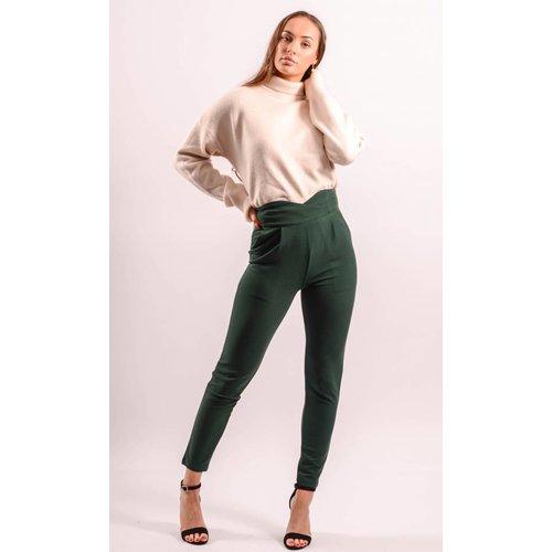 High waist pantalon green