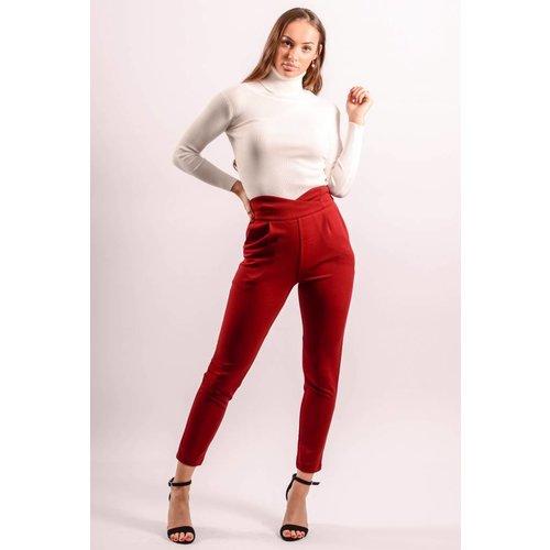 High waist pantalon bordeaux