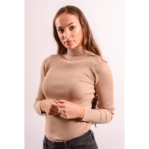 Turtle neck ribbed nude
