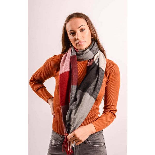 Scarf check red