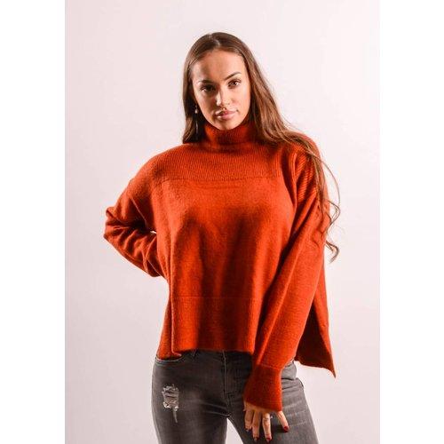 Soft oversized sweater red-brick