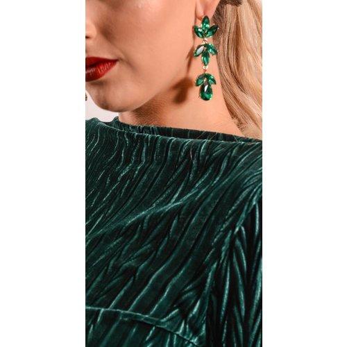 Earrings Green floral