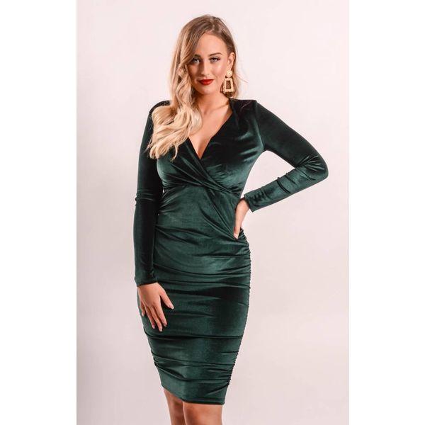 Velvet dress crossover green