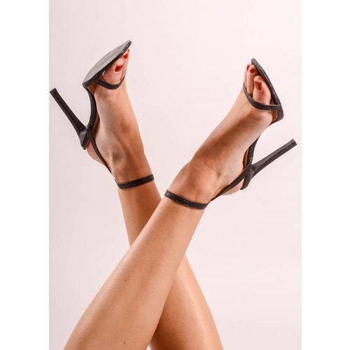 Black glitter heel